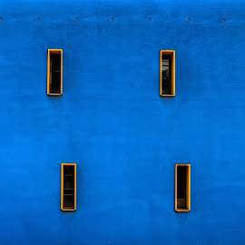 2 x 4 = 8 by Klaus Müller - Abstract Patterns ( rectangular, blue, wall,  )