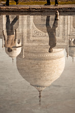 Photo: This is a reflection of Taj Mahal in one of the ponds in front of the Taj.  I desaturated the image and added a dirtish tint (using splittoning in LR to bring out the texture.