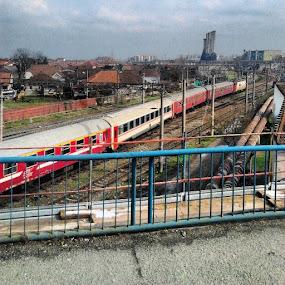 Colorfull by Marian Bursas - Transportation Trains ( rails, train, house, bridge, city )