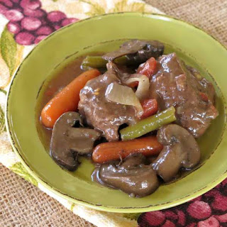 Crock Pot Beef and Vegetables in a Red Wine Sauce.
