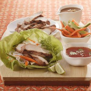 Thai Lettuce Wraps with Satay Pork Strips