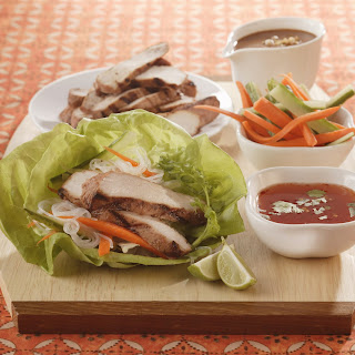 Thai Lettuce Wraps with Satay Pork Strips.