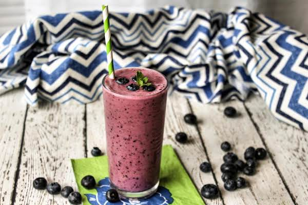 Smoothie In A Glass With Blueberries.