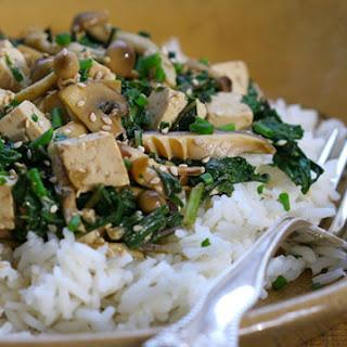 Zesty Mushroom Tofu Stir Fry with Spring Greens