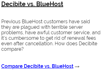 Decibite vs BlueHost