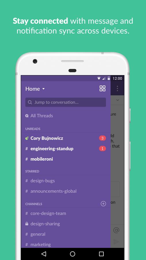 Screenshots of Slack for iPhone