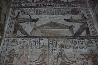 Photo: Dendara, inner shrines.  Isis and Nepthys protect Osiris
