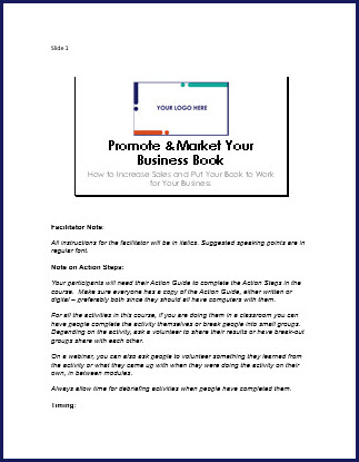 Promote & Market Your Business Book - Speaker Notes
