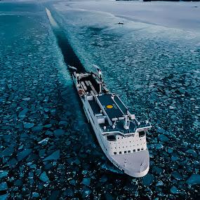 Ship on the track.  by Irvan Junizar - Transportation Boats ( seascape, ocean, ship, ice, sea, photography, transportation )