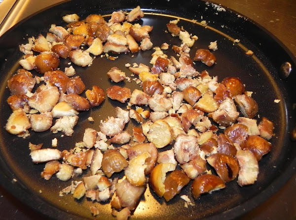 Lightly brown the chestnuts  Cook approx 5 - 7 minutes, till tender. Pour...