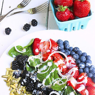 Very Berry Spinach Salad with Popped Quinoa & Citrus Yogurt Dressing Recipe