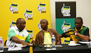 ANC President, Cyril Ramaphosa talks to his deputy DD Mabuza and ANC Treasure General, Paul Mashatile. File photo.
