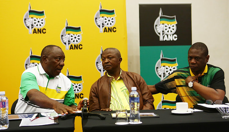 ANC President Cyril Ramaphosa talks to his deputy David Mabuza and ANC Treasure General Paul Mashatile. File Photo.