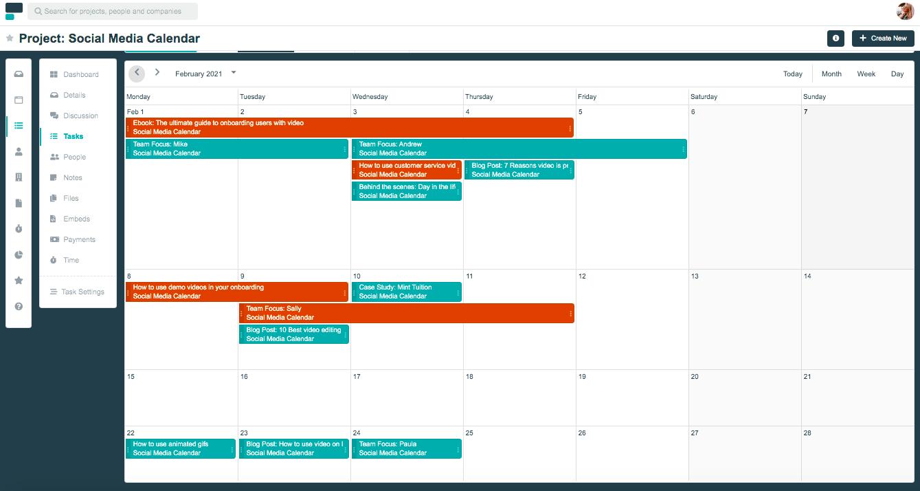 Project.co social media calendar template
