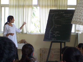 Photo: 1 Month YTT Course - Batch of April 2008 - Jeenal Mehta conducting Anatomy Class (The Spine - Merudanda in Yoga).