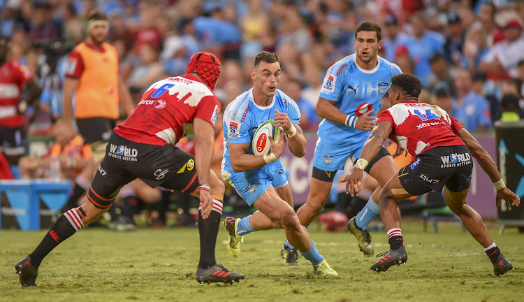 Cyle Brink of the Emirates Lions and Handre Pollard(c) of the Vodacom Bulls during the 2018 Super Rugby match at Loftus Versveld, Pretoria on 03 March 2018.
