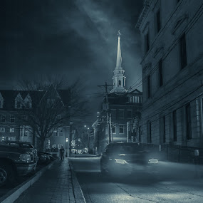 Towards Market St by Michael Otero - City,  Street & Park  Street Scenes ( steeple, night photography, handheld, black and white, cars, low light )