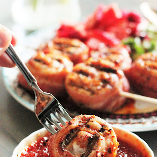 Sweet and Spicy Chicken Bacon Lollipops