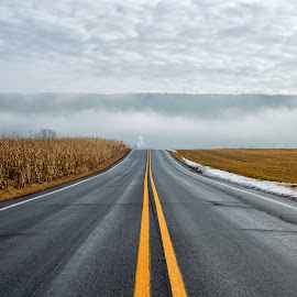 Foggy Mountains  by Dave Bradley - Transportation Roads ( foggy, mountains, nature, fog, outdoor, pennsylvania, road,  )