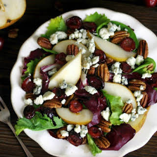 Roasted Cherry and Pear Salad with Radicchio, Blue Cheese and Pecans.