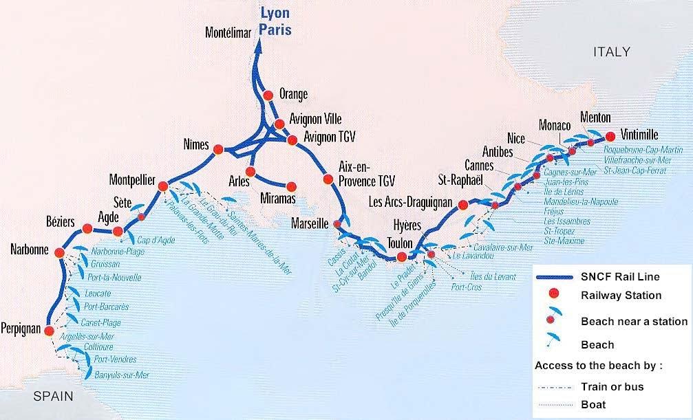 Схема маршрутов поездов TGV по Лазурному берегу - Поезда Прованса