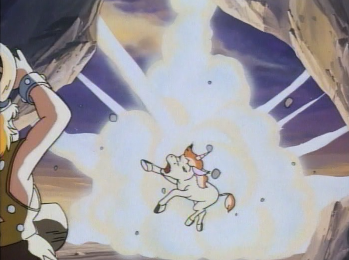 Uni is hit by a power blast