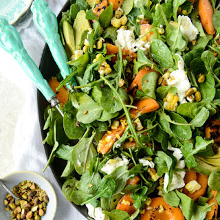 Grilled Apricot, Corn and Arugula Salad