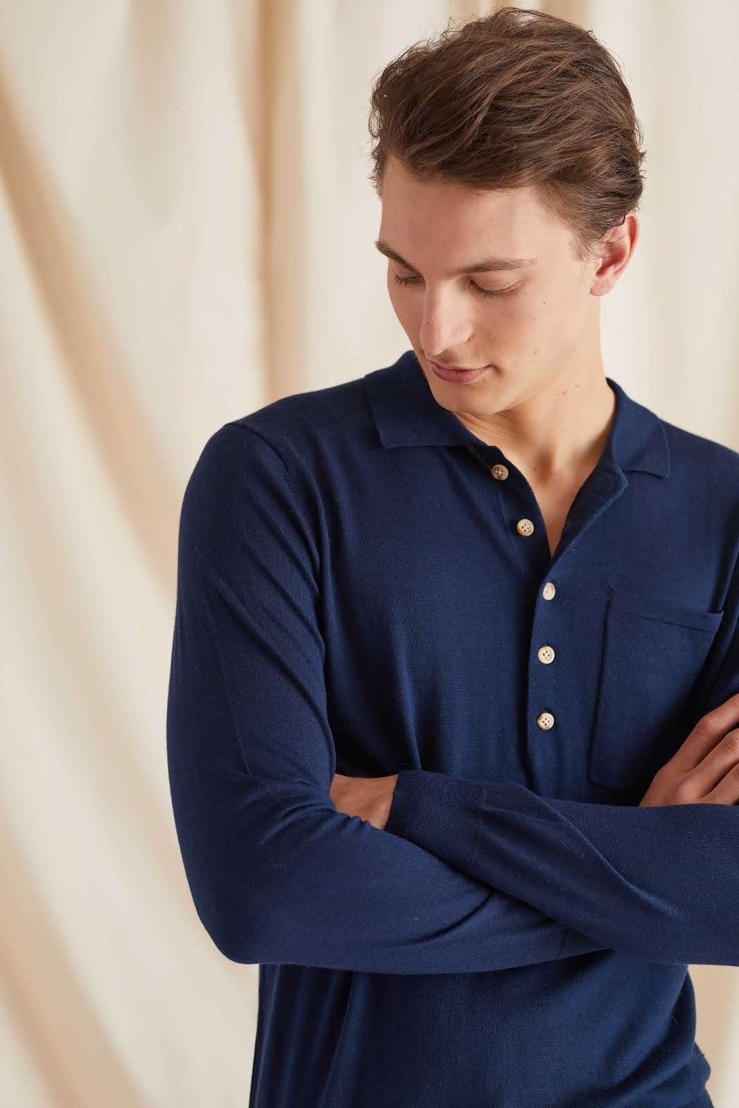 Man Fine Knit Polo Shirt