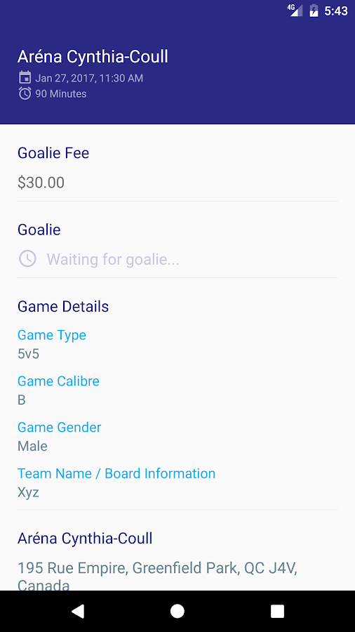 GoalieUp- screenshot