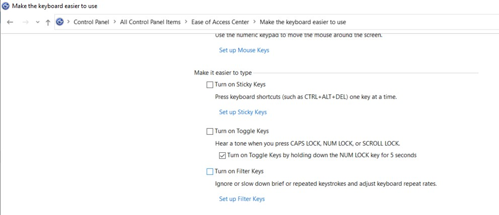 The Make the keyboard easier to use page in the Control Panel