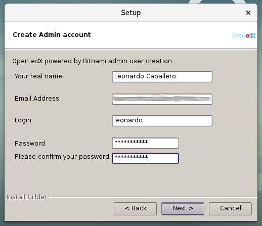 Figura 7 - Crear cuenta de usuario administrador