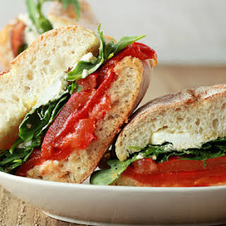 Roasted Red Pepper, Baby Arugula, & Goat Cheese Sandwiches with Optional Bacon.