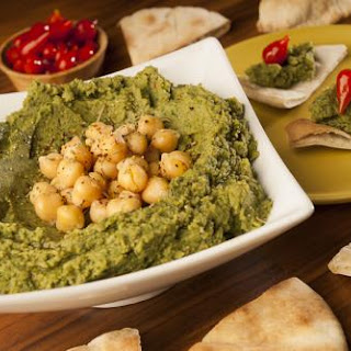 Sweet Pepper and Spinach Hummus.