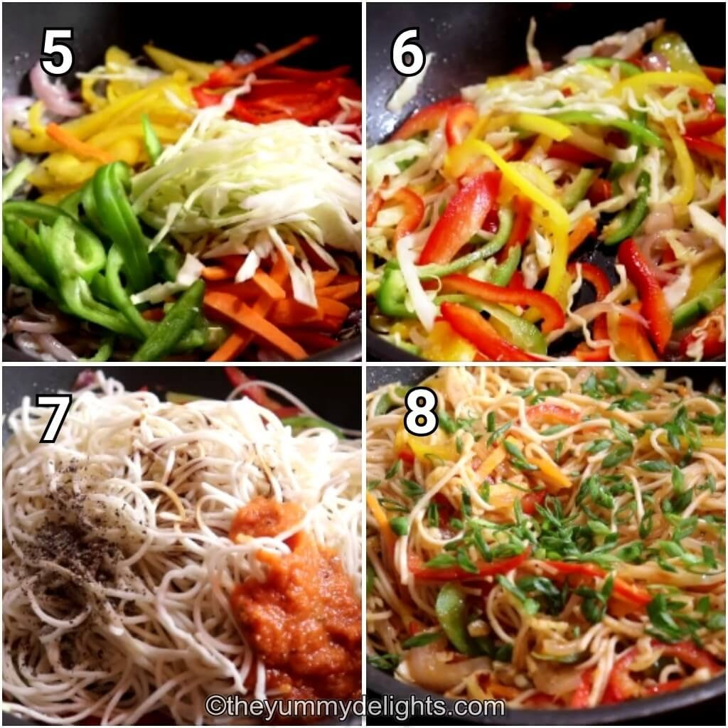 step by step image collage of stir-frying the vegetables, addition of cooked spaghetti and sauce to make spaghetti marinara