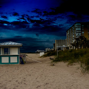 A Storm is Brewing by Debbie Jones - Landscapes Beaches ( florida, pompano beach, hotel, storm,  )