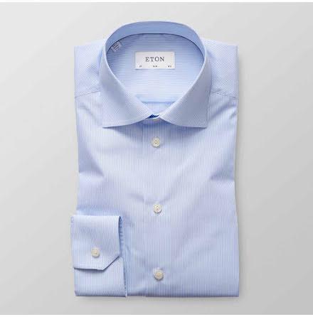 ETON blå vit randig poplin skjorta contemporary