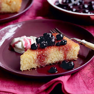 Semolina Cake With Blueberry Compote.
