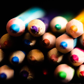 by Lubelter Voy - Artistic Objects Other Objects ( sharp, purple, wood, white, oranges, pencil, colour, red, blue, grey, pink, brown, black )