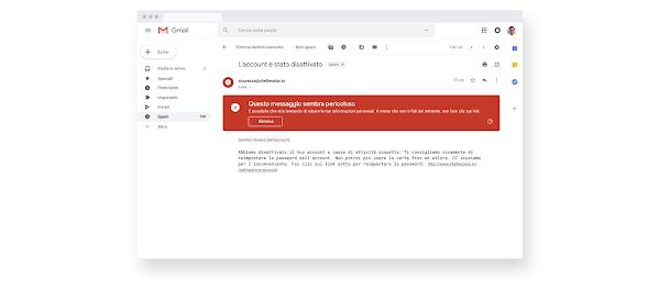 Avviso relativo a un'email di Gmail sospetta