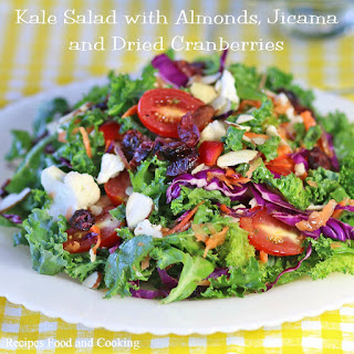 Kale Salad with Almonds, Jicama and Dried Cranberries.