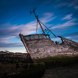 Disengaged by Simon Talbot-Hurn - Transportation Boats ( clouds, old, neglected, beached, shipwreck, wreck, ship, suffolk, long exposure, scuttled, boat, grounded )