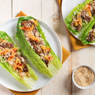 Easy Korean Beef and Kimchi Lettuce Wraps.