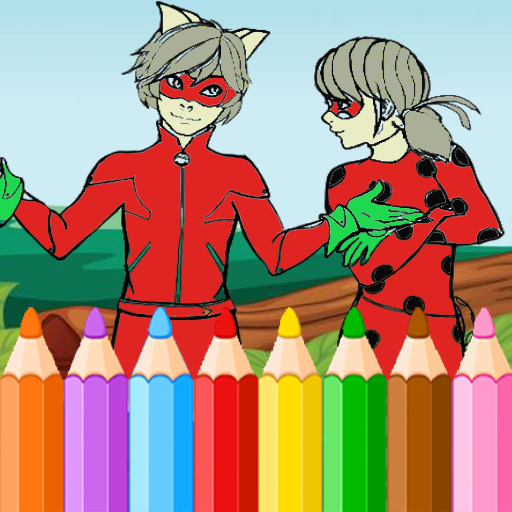 Coloring Book for Cat Noir and Ladybug