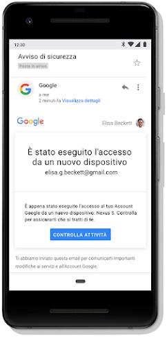 Avviso di sicurezza di Gmail relativo all'accesso da un nuovo dispositivo