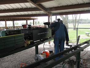 Photo: Bob Sanford working on his narrow gauge loco