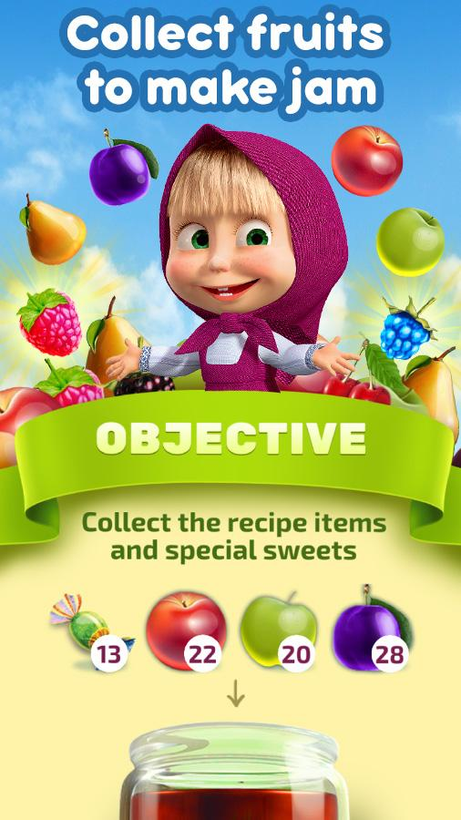 Masha and The Bear Jam Day Match 3 games for kids- screenshot