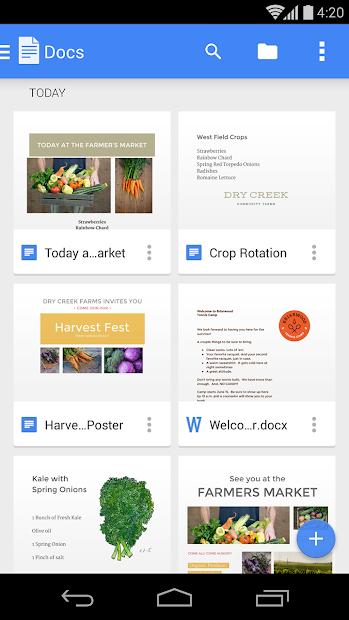 Google Docs Android App Screenshot