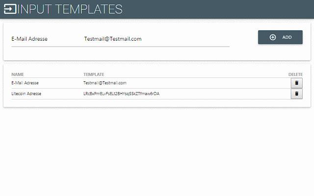 Input Templates for Chrome