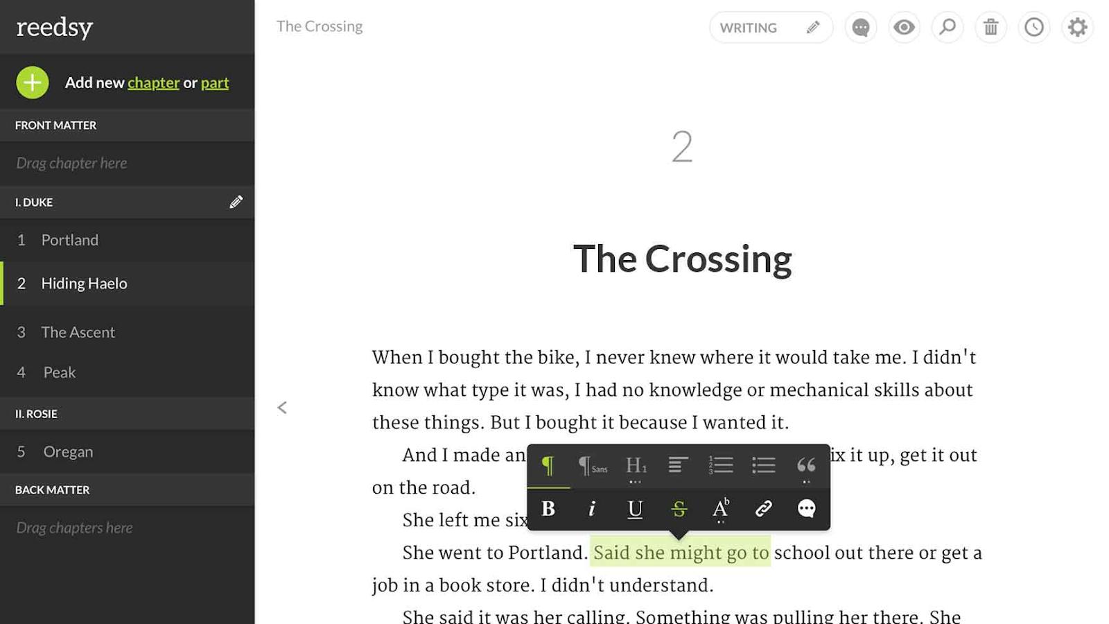 screenshot of Reedsy app user interface