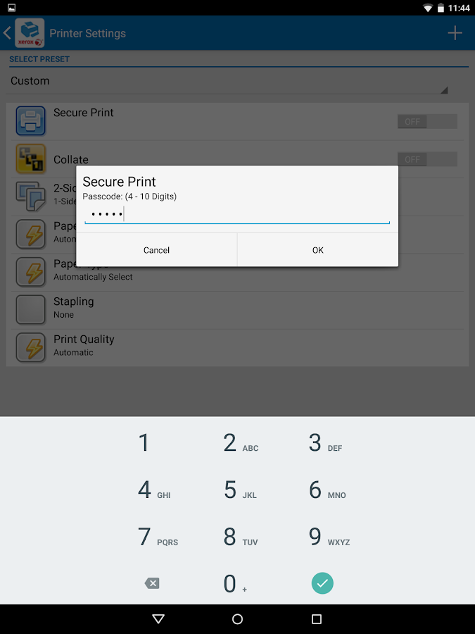 Xerox Print Service Plugin- screenshot